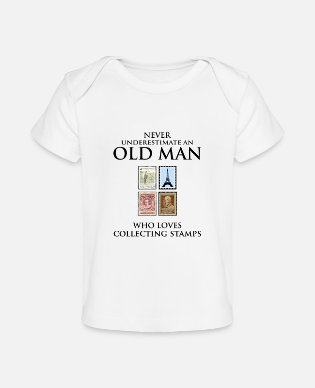 Mail Baby T-Shirts - Stamp Collecting Collector Dad Grandpa Fathers Day - Baby Organic T-Shirt white