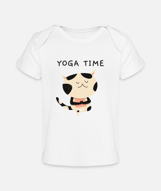 Position Yoga Baby T-Shirts - Yoga Time For Kitty Cat Namaste Position - Baby Organic T-Shirt white