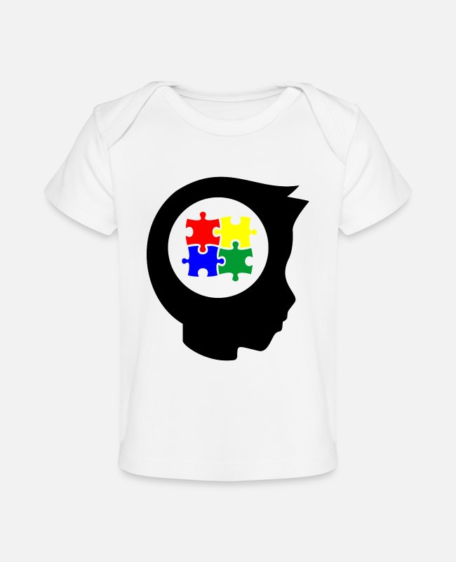 Autism Baby T-Shirts - Autism puzzle pieces colorful child head - Baby Organic T-Shirt white