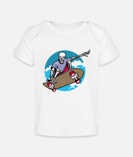 Freestyle Baby T-Shirts - T shirt skeleton skateboarder streetwear vector - Baby Organic T-Shirt white