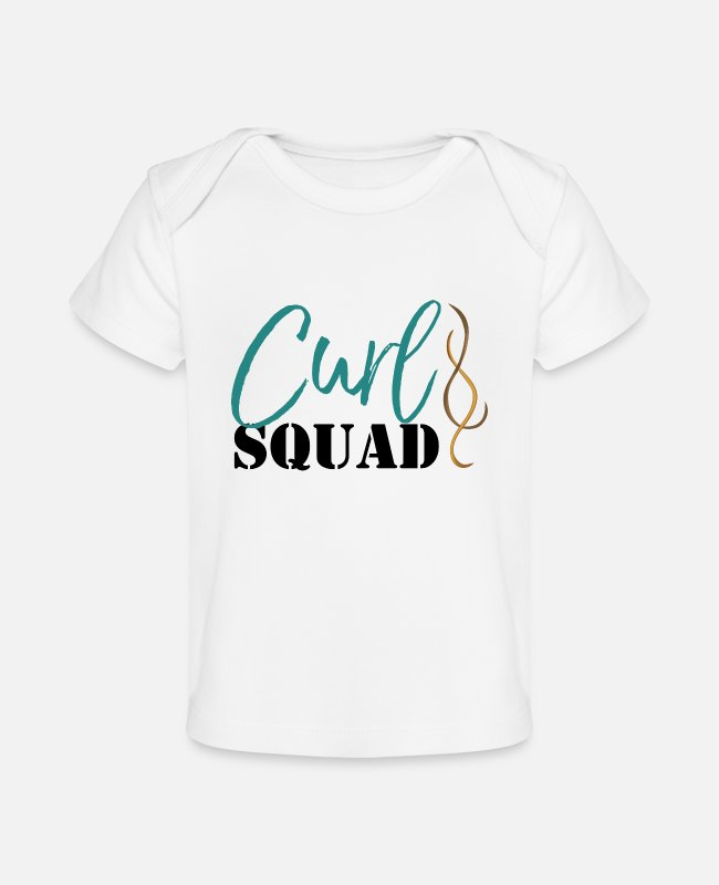 Natural Hair Baby T-Shirts - Curl Squad - Baby Organic T-Shirt white