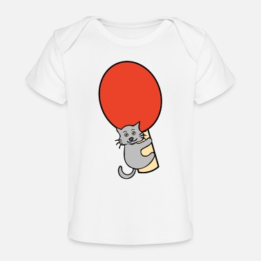 Cat A Table Cat with a table tennis paddle - Baby Organic T-Shirt