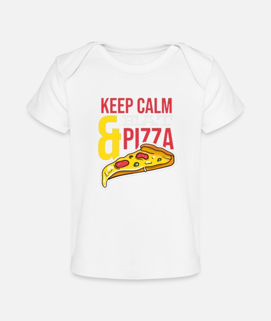 Keep Calm Baby T-Shirts - Eat Pizza - Baby Organic T-Shirt white