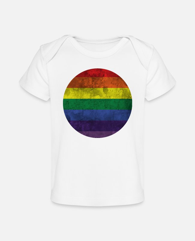 Marriage Equality Baby T-Shirts - Gay Pride Rainbow Flag Moon - Baby Organic T-Shirt white