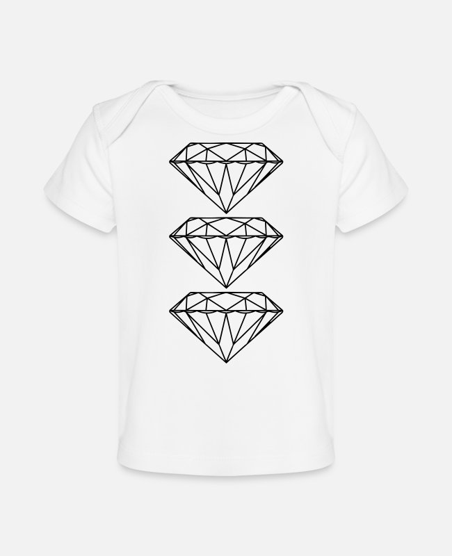 Triple Baby T-Shirts - diamond 3 - Baby Organic T-Shirt white