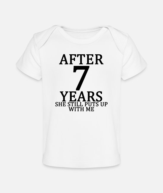 Engagement Baby T-Shirts - seventh_7th_anniversary_married_funny_ts - Baby Organic T-Shirt white