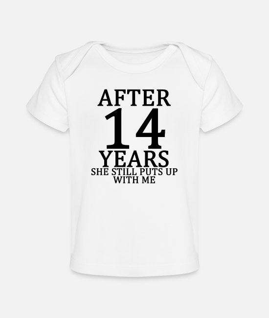 Engagement Baby T-Shirts - fourth_14th_anniversary_married_funny_ts - Baby Organic T-Shirt white