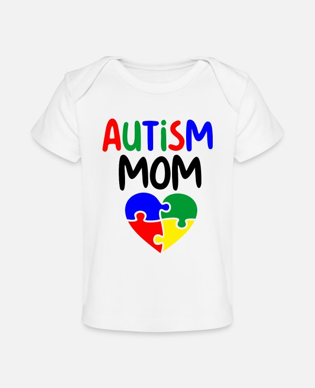 Autism Baby T-Shirts - Autism mom puzzle pieces colorful - Baby Organic T-Shirt white