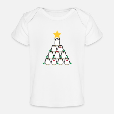 Cute Animals Penguins Christmas tree - Baby Organic T-Shirt