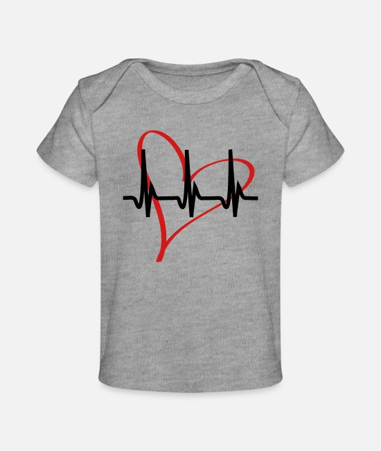 Amor Baby T-Shirts - heartbeat - Baby Organic T-Shirt heather gray