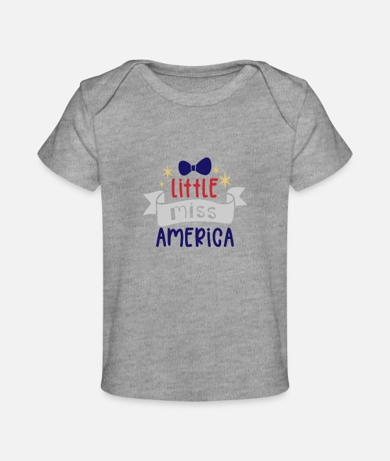 Pregnancy Baby T-Shirts - Little miss america - Baby Organic T-Shirt heather gray