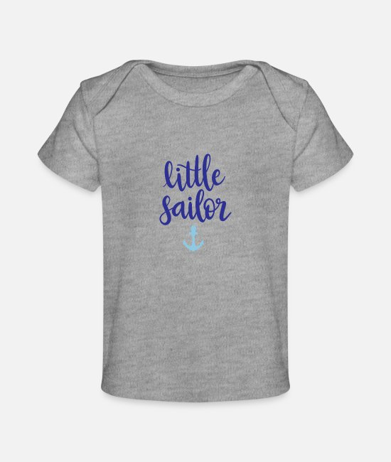 Pregnancy Baby T-Shirts - little sailor - Baby Organic T-Shirt heather gray