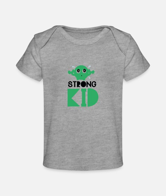 Pregnancy Baby T-Shirts - Strong kid - Baby Organic T-Shirt heather gray