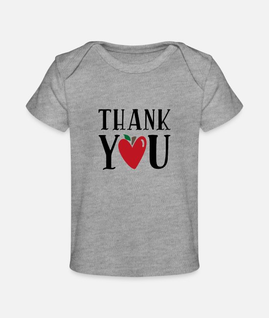Pregnancy Baby T-Shirts - Thank you - Baby Organic T-Shirt heather gray