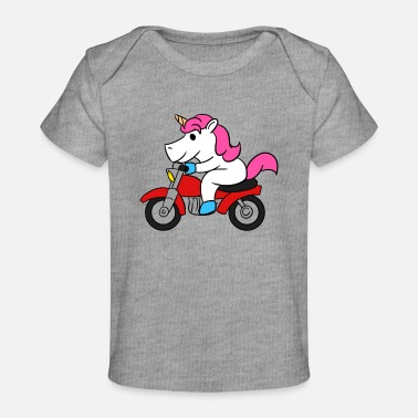 Motorcycle Unicorn Riding Motorcycle T-Shirt Funny Magical - Baby Organic T-Shirt