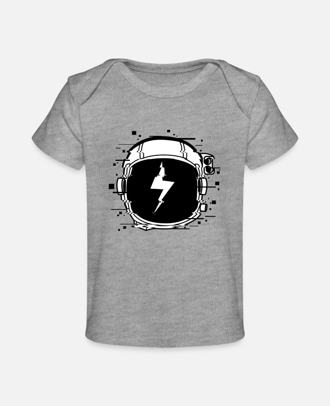 Mars Baby T-Shirts - Astronaut Helmet Glitch Space Moon Love Gift Idea - Baby Organic T-Shirt heather gray