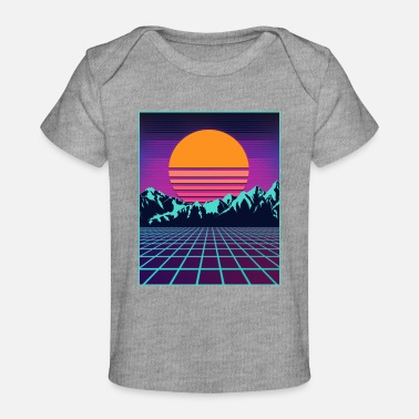 Outrun Style Retro 80s Aesthetic Vaporwave Outrun Style Sun - Baby Organic T-Shirt