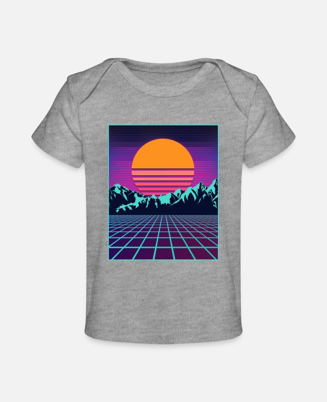 Aesthetic Baby T-Shirts - Retro 80s Aesthetic Vaporwave Outrun Style Sun - Baby Organic T-Shirt heather gray