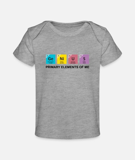 Genius Booster Baby T-Shirts - Genius | Primary Elements Of Me - Baby Organic T-Shirt heather gray