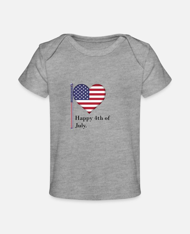 Usa Baby T-Shirts - Independence Day - Baby Organic T-Shirt heather gray