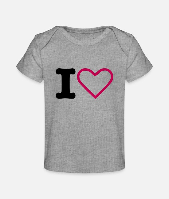 Heart Baby T-Shirts - I Heart - Baby Organic T-Shirt heather gray