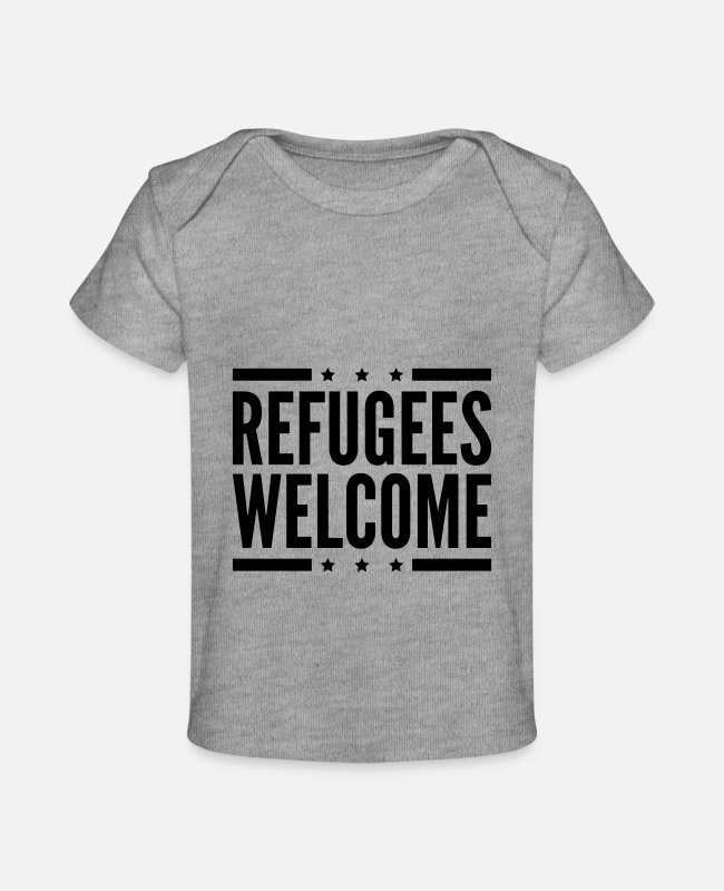 Refugees Welcome Baby T-Shirts - refugees_welcome_design_pi1 - Baby Organic T-Shirt heather gray