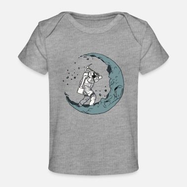 Half Moon Astronaut digging the moon into a half moon - Baby Organic T-Shirt