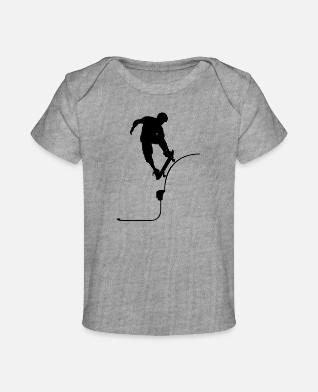 Jumpstyle Baby T-Shirts - Skate jump - Baby Organic T-Shirt heather gray