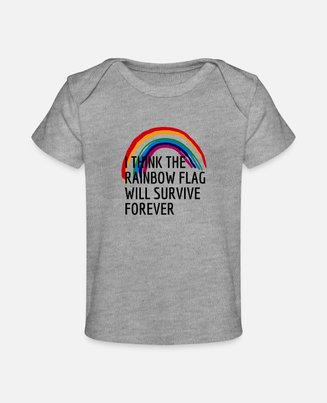 Quote Baby T-Shirts - THE RAINBOW FLAG - Baby Organic T-Shirt heather gray