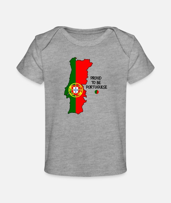 Red Baby T-Shirts - Proud to be Portuguese - Baby Organic T-Shirt heather gray