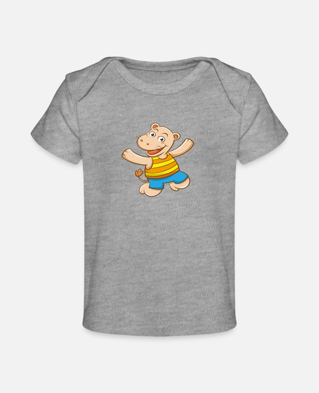 Party Baby T-Shirts - Funny Animal having Fun for Kids - Baby Organic T-Shirt heather gray