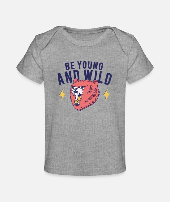 Young Baby T-Shirts - Young and Wild - Baby Organic T-Shirt heather gray