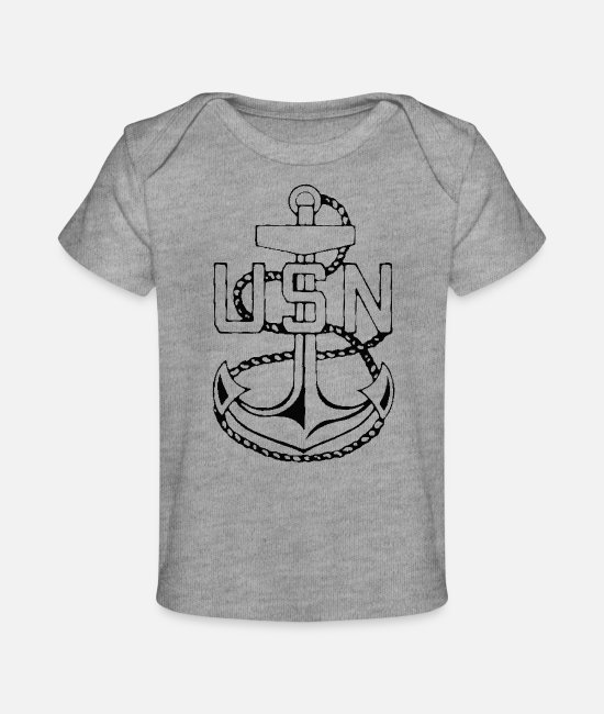 USN Baby T-Shirts - Anchor - Baby Organic T-Shirt heather gray