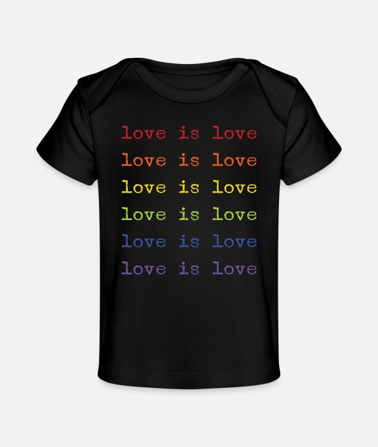 Gay Pride Baby T-Shirts - love is love - Baby Organic T-Shirt black