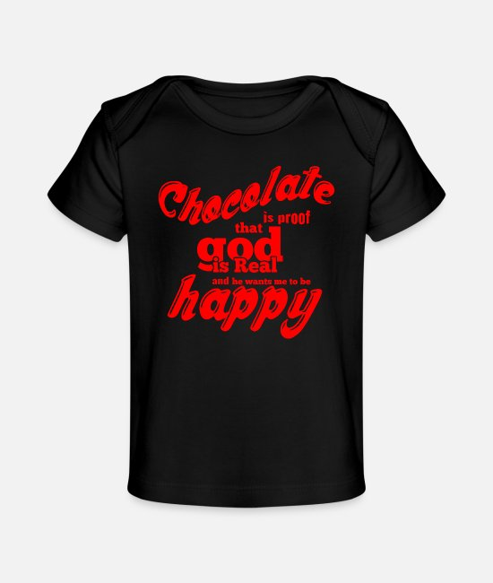 Origami Baby T-Shirts - GIFT - CHOCOLATE IS REAL RED - Baby Organic T-Shirt black