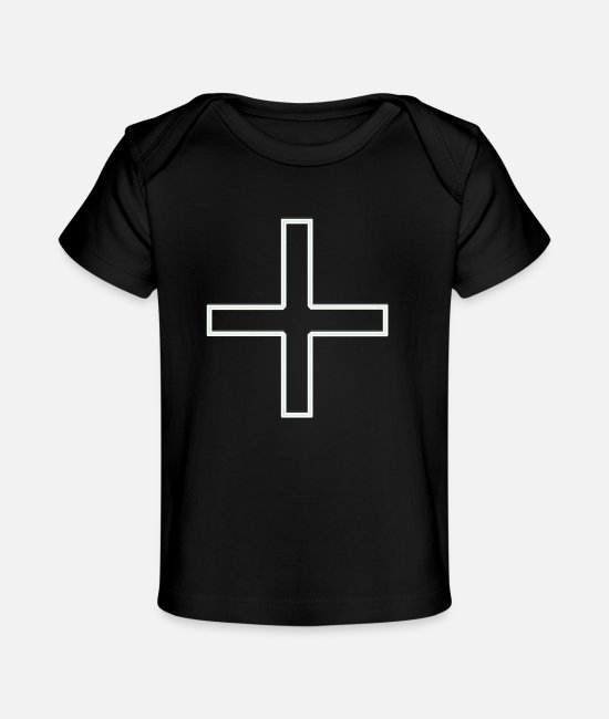 Church Baby T-Shirts - Cross Green S - Baby Organic T-Shirt black