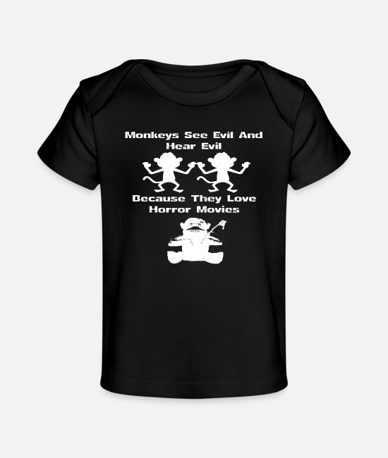 Orang Utan Baby T-Shirts - Monkeys - Because they love horror movies - Baby Organic T-Shirt black