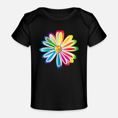Meadow Colorful rainbow Daisy flower - Baby Organic T-Shirt