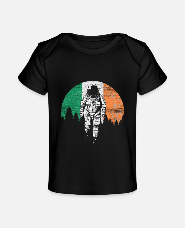 Spaceman Baby T-Shirts - Ireland flag - Baby Organic T-Shirt black