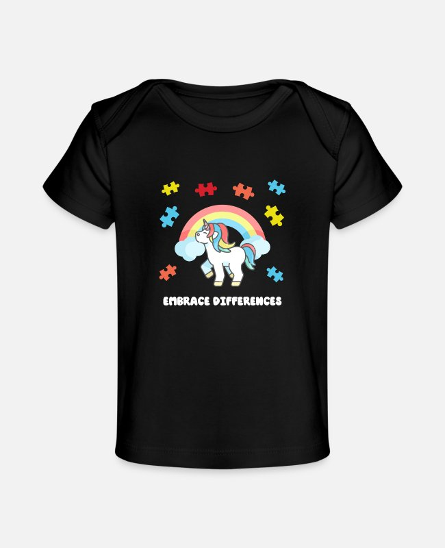 Autism Baby T-Shirts - Autism Unicorn Embrace differences Puzzle Rainbow - Baby Organic T-Shirt black
