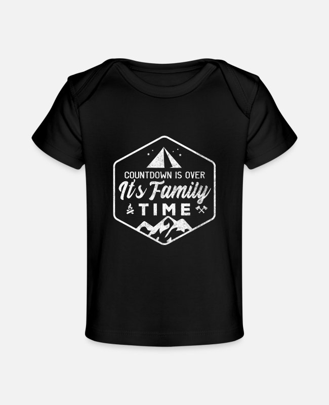Tent Baby T-Shirts - Family Vacation Tent Holiday Camp Nature Parents - Baby Organic T-Shirt black