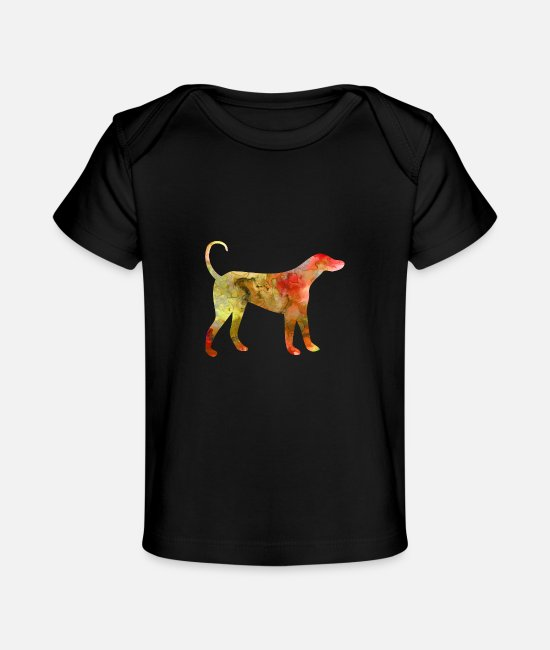 Heart Baby T-Shirts - Dog Funny Animals Tee watercolor T Shirt Kids Gift - Baby Organic T-Shirt black