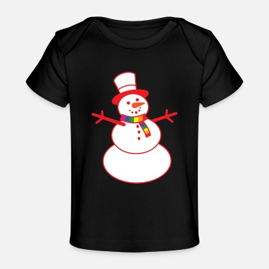 Funny Bisexual Gay Snowman Rainbow Scarf Funny Bisexual LGBT - Baby Organic T-Shirt