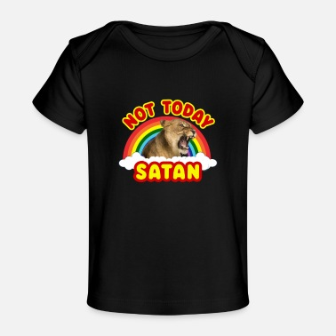 Metal Funny Satan Panther Not Today Death Metal Rainbow - Baby Organic T-Shirt