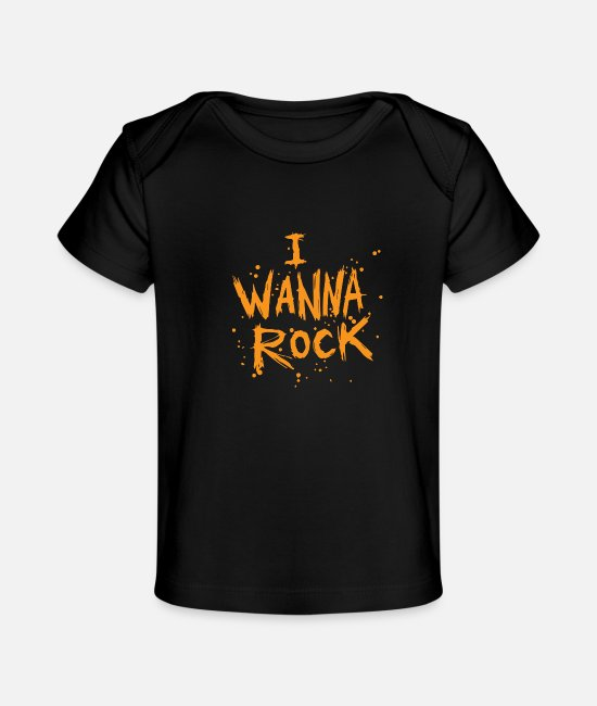 Metal Fork Baby T-Shirts - I Wanna Rock - Baby Organic T-Shirt black