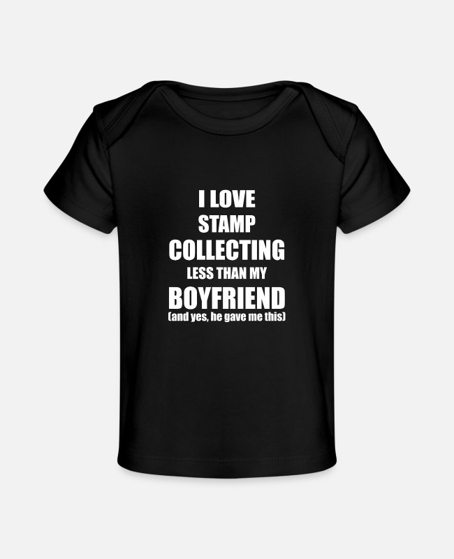 Husband Baby T-Shirts - Stamp Collecting Valentines Day Girlfriend Gift - Baby Organic T-Shirt black