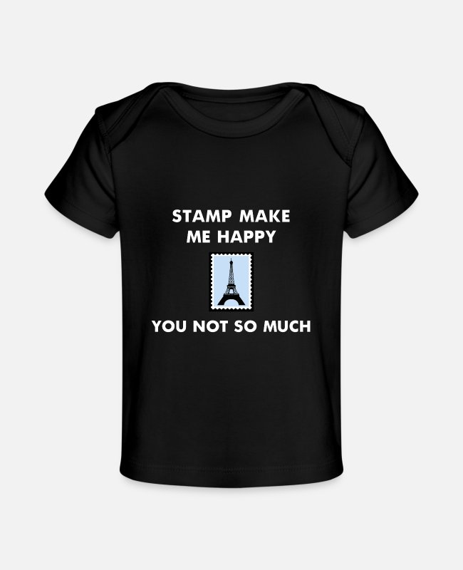 Mail Baby T-Shirts - Stamp Collecting Collector Philatelist - Baby Organic T-Shirt black
