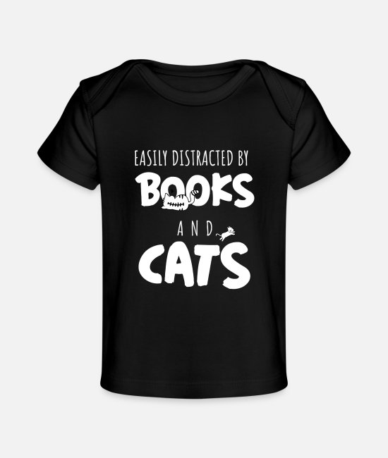 Father's Day Baby T-Shirts - Easily Distracted By Books and Cats - Baby Organic T-Shirt black