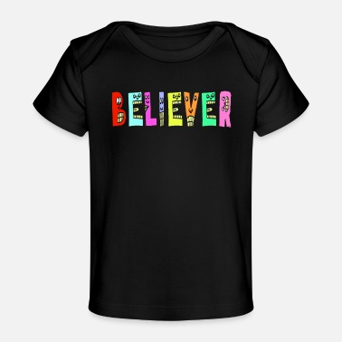 Purple Cute Believer Motivational Text Illustrated - Baby Organic T-Shirt