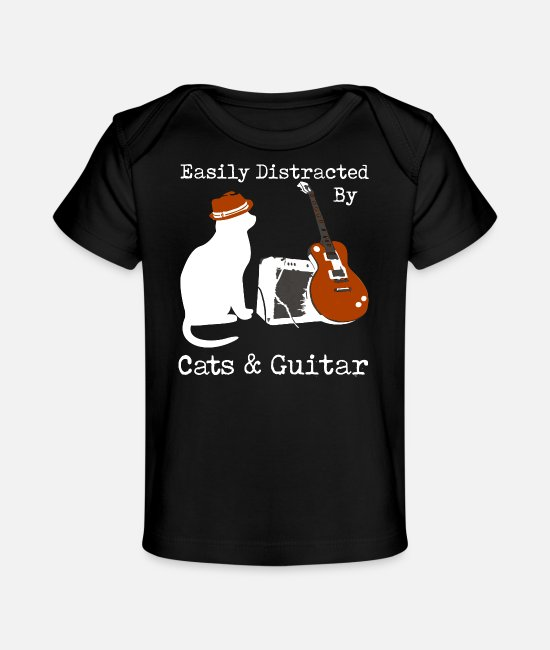 Guitar Baby T-Shirts - Easily Distracted By Cats Guitar - Baby Organic T-Shirt black